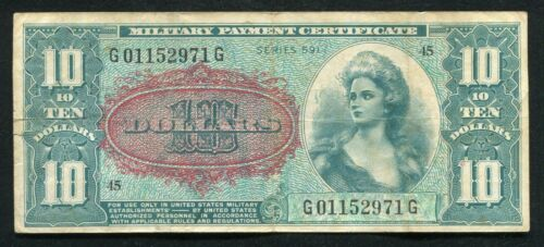 SERIES 591 $10 TEN DOLLARS MPC MILITARY PAYMENT CERTIFICATE VERY FINE SCARCE