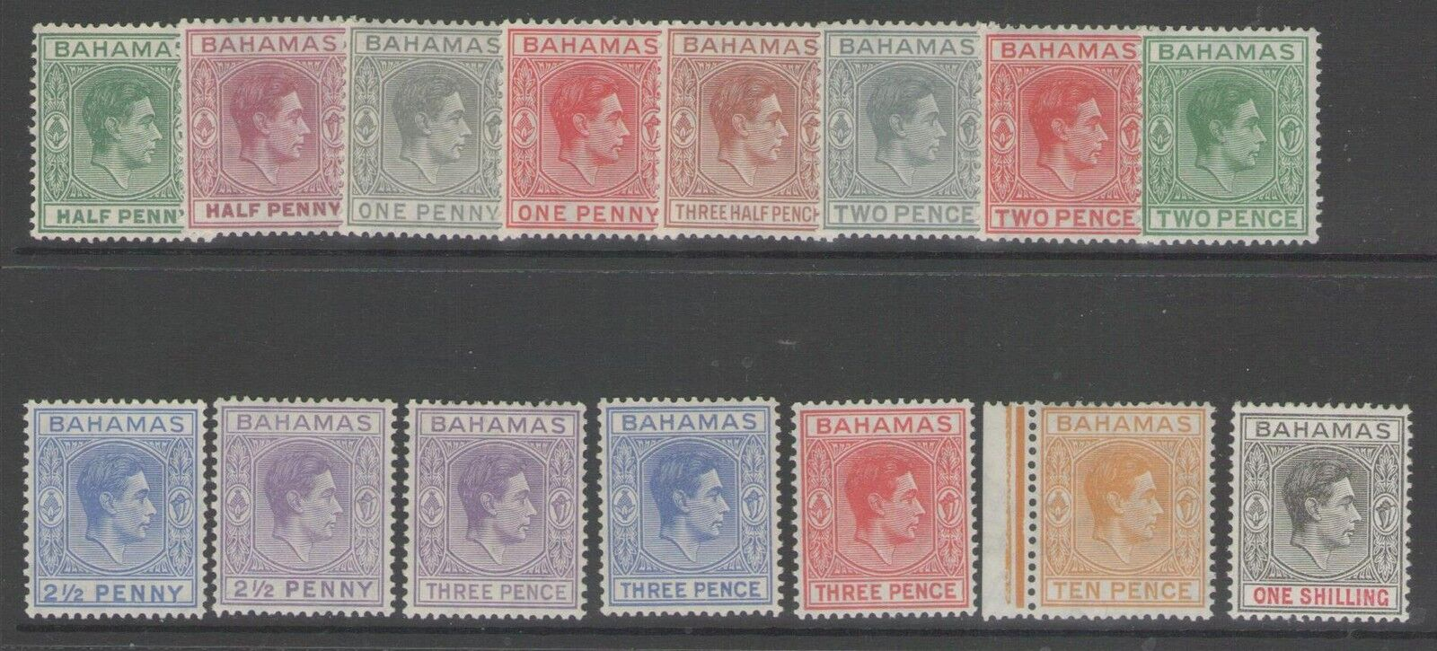 BAHAMAS SG149/55c 1938 DEFINITIVE SET TO 1/= MTD MINT