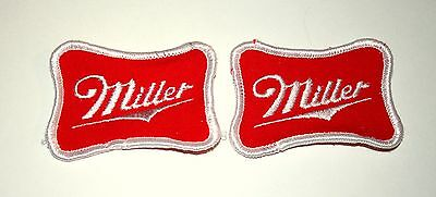 2 Classic Vintage Miller Brewing Beer Distributor Cloth Patch 1970s NOS New