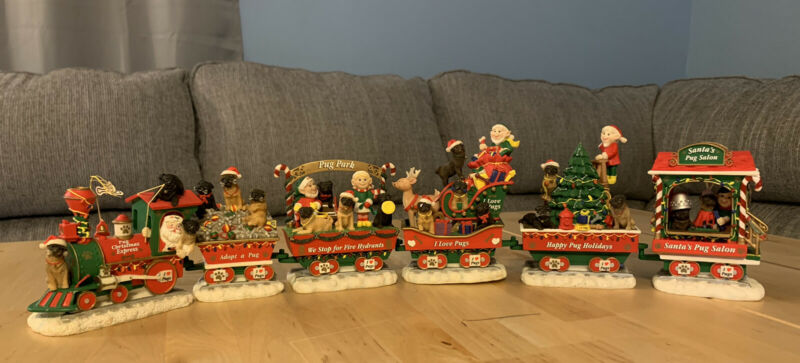Danbury Mint Collectible Pug Christmas Express Train Figurine- 20 3/4 Long READ