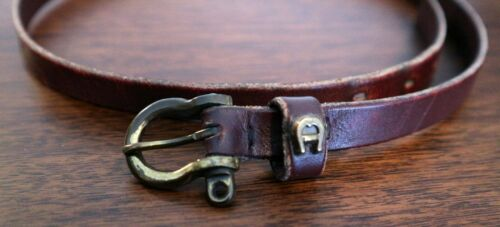 Vintage Etienne Aigner Brown/Burgundy Leather Skinny Belt Size 26