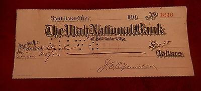 1908 Salt Lake City Utah National Bank  Check No  1240