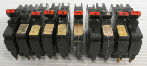 (10) Federal Pacific Type NC Stab-Lok Circuit Breakers 15A 1P 120/240VAC