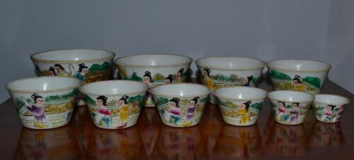 Group of 10 Old or Antique Chinese Stacking Nesting Bowls Daoguang Mark