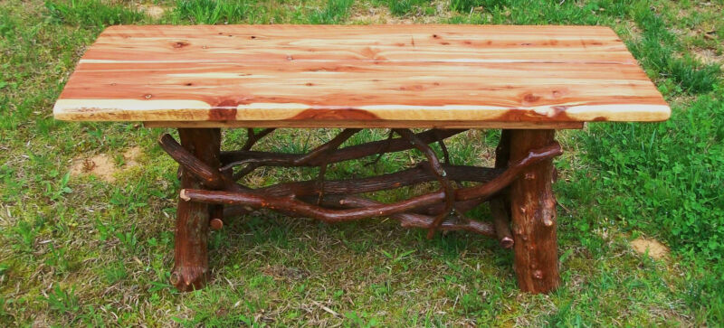 Tree Trunk Rustic Red Cedar Wood Coffee Table Log Cabin Furniture FREE SHIPPING