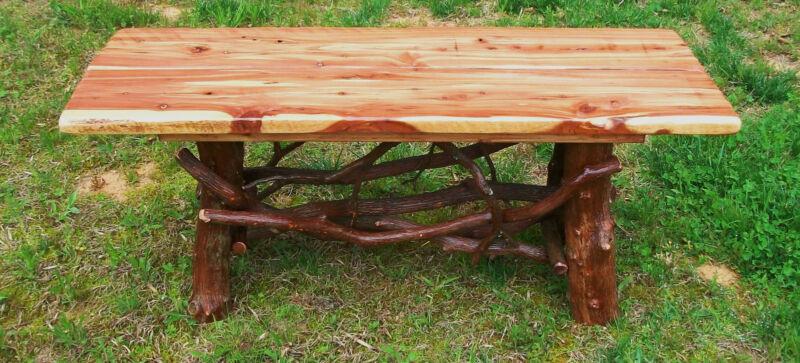 Tree Trunk Rustic Red Cedar Wood Coffee Table Log Cabin Furniture FREE SHIPPING