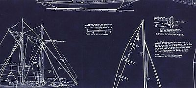MO118 Sailing Yacht Sailboat Sail Boat Blueprint Drawing Cotton Quilt Fabric