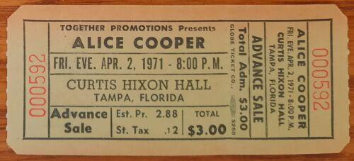 Alice Cooper-1971 RARE Unused Concert Ticket (Tampa-Curtis Hixon Hall)