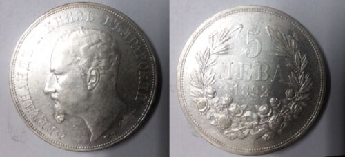 1892 Bulgaria Large  silver 5 Leva  Nice
