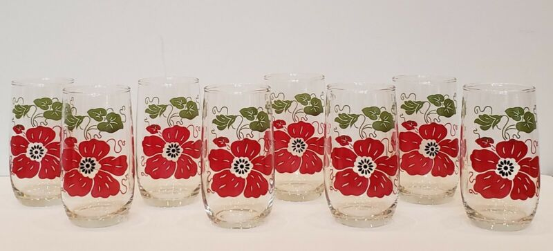 Vintage Anchor Hocking 13 oz Roly Poly Tumblers - Red Flower - RARE - Never Used