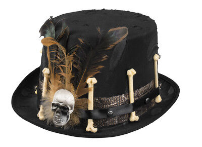 Mens Ladies Black Top Hat Skull & Bones - Voodoo Skull Kostüm