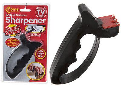 2 in 1 Super Sharp Knife & Scissors Sharpener Tool Blade Hand Protection Guard