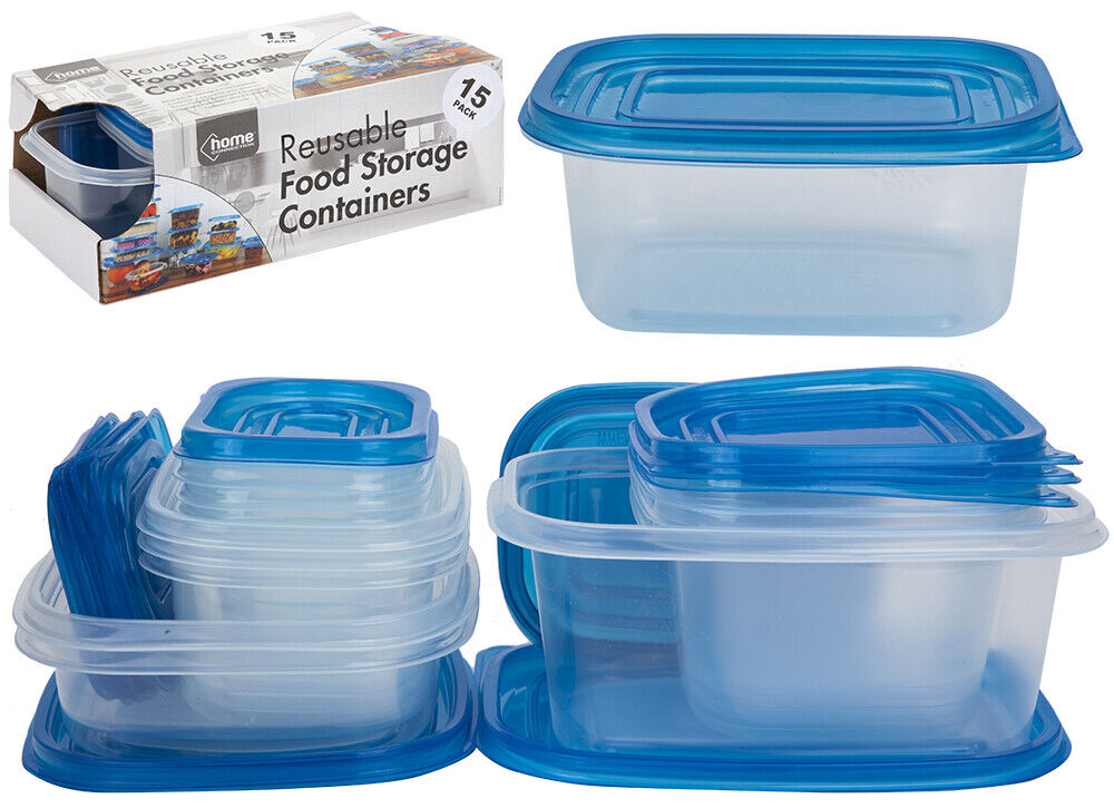15 x Assorted Plastic Food Storage Boxes Container Kitchen Baby Lunch Picnic