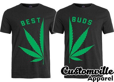 🔥 Best Buds T shirt Marijuana Leaf Weed Smoking Buddy Couple Matching shirts