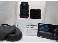 Canon EF 135 F2 EF USM lens.