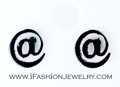 Small Black At   Sign Symbol Internet Email Address Stud Earring Fashion Jewelry