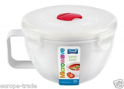 Plastic 1lt Round Microwave Pot Tub Container Lunch Box with Vented Lid BPA Free