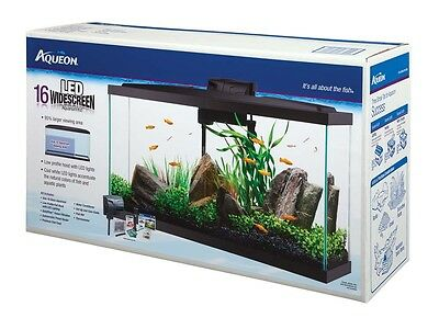 Aqueon Widescreeen LED Kit Black 16gal Aquarium Fish Tank