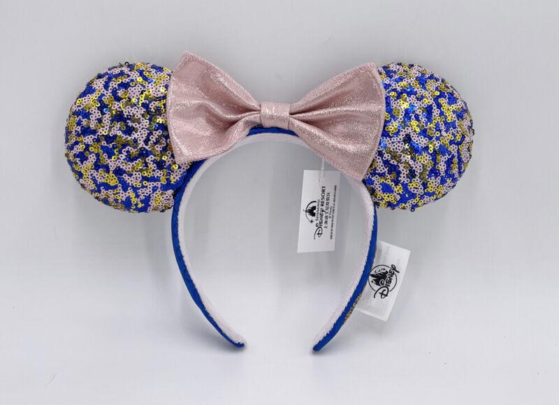 2021 Disneyland Resort Pink Navy Gold Sequin Headband Minnie Ears Disney Parks