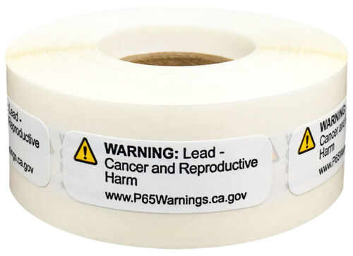"""Short Form Prop 65 Lead Warning Labels   .5"""" x 1.5"""" Inch   500 on a Roll"""