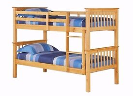 Absolutely On Lowest PRICE/White Chunky Pine Wood Bunk Bed with Mattres/Can be Used as 2 Single Beds
