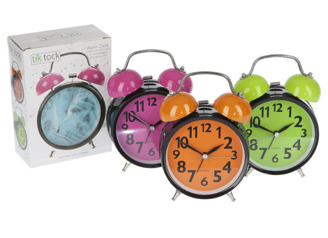 DOUBLE METAL BELL ALARM CLOCK WITH LIGHT & SOUND - AMAZING ALARM  LOVELY COLOURS
