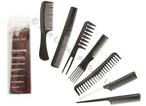 7pc Hair Comb Set - Salon Brush Styling Detangling Hairdressing Black Men Lady