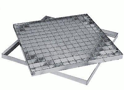 Griglia pedonabile telaio acciaio coperchio chiusino pozzetto tombino quadrata