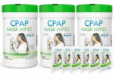 3X 110 Packs CPAP Cleaner Travel Mask Wipes - The Original Unscented Cleaning Su