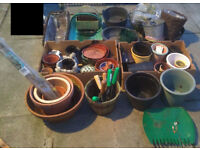 huge selection garden planter & flower pots , plastic , galvanised , terracotta hand tools included