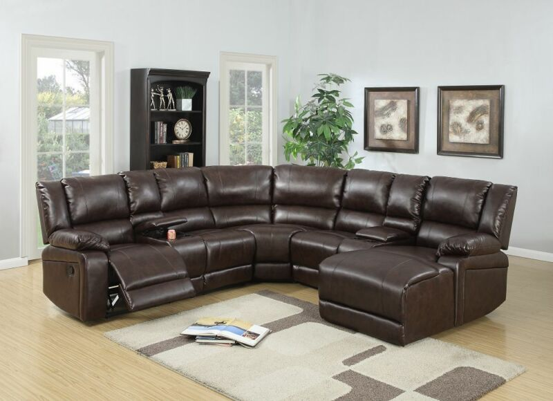 New 5pc Motion Reclining Set Brown Bonded Leather Console Push Back Chaise Chair