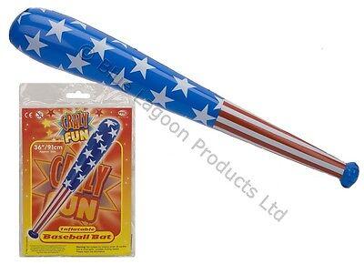 "36"" Inflatable Blow Up Baseball Bat - Stars Stripes Beach Party Fancy Dress USA"