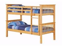 SALE !! 50% OFF BRAND NEW- WOODEN BUNK BED FRAME £149 WITH SEMI ORTHOPAEDIC MATTRESS