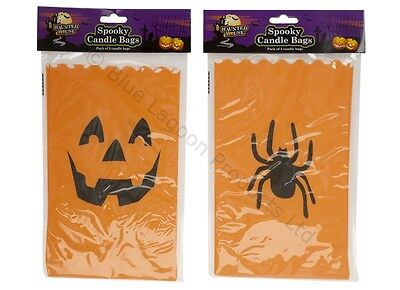 Pack Of 3 Spooky Decoration Paper Halloween Candle Bags Trick Or Treat Party](Halloween Candle Paper Bags)
