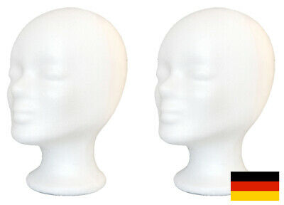 2 Perücke (2x Styroporkopf Perückenkopf Dekokopf - TOP deutsche Marken-Qualität - PORTOFREI)