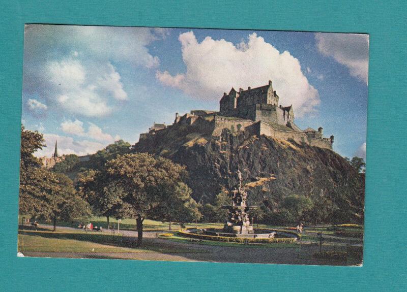 View of The Castle Rock-Fountain-Edinburgh-Scotland-Historic Vintage  60's