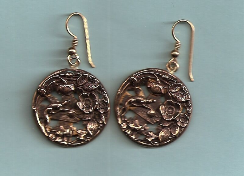 EARRINGS FROM VICTORIAN ART NOUVEAU BUTTONS IGUANA ON FENCE RARE LARGE HTF SUBJT