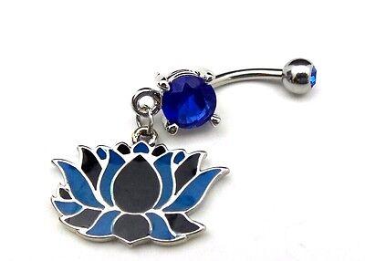 Lotus Flower Belly Ring Blue CZ Gem Dangle Navel Bar 14g Body Jewelry
