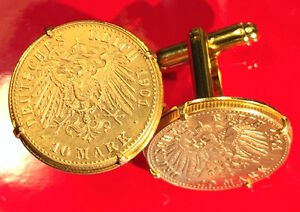 Stunning Gold Imperial German Eagle Shield Germany Empire 10 Mark Coin Cufflinks