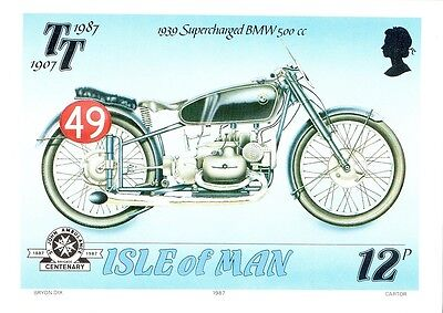 (11567) Postcard - Motorcycling TT Races - 1939 Supercharged BMW 500cc