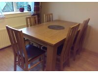 Dining table (oak) with 6 chairs