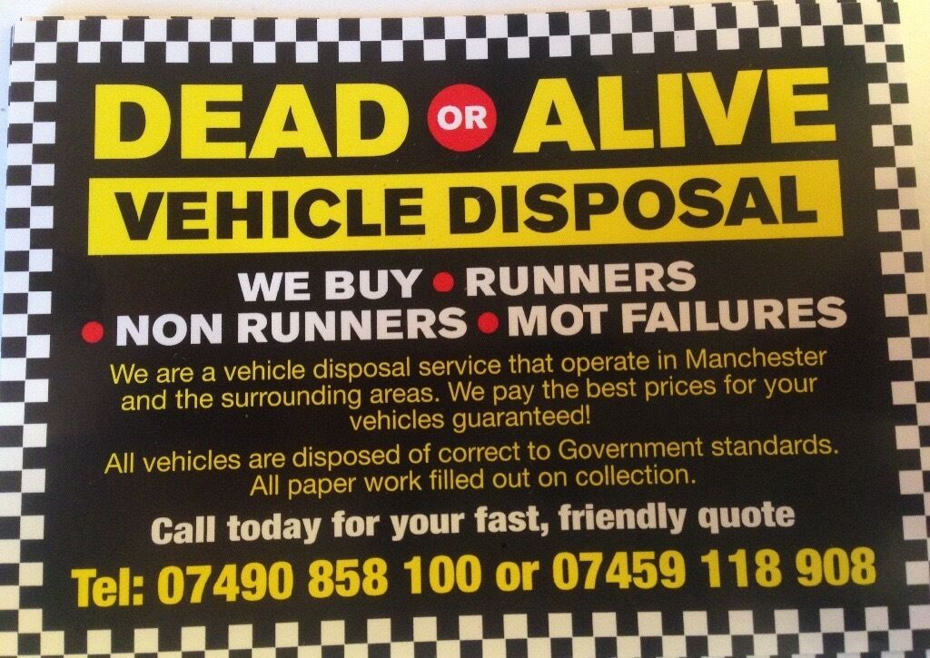 dead or alive scrap cars and vans bought for cash on collection ...