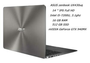 ASUS ZENBOOK UX430UQ 14'' IPS FHD, i5-7200u, turbo 3.1GHZ, 16GB, 512GB SSD, nVIDIA GeForce 940mx 2GB+ INTEL HD 620