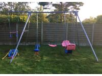 Good Condition Metal TP Triple Swing & Extension with 5 Attachments Inc. 2 double swings