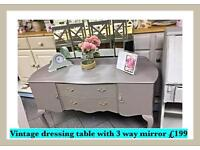 Vintage, shabby chic dressing table with three way mirror
