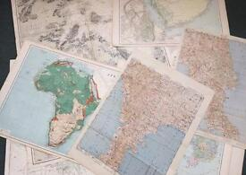 Collection of 10 vintage maps of different countries around the world. Good condition, as pictured