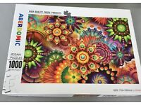 ABERDOMIC 1000Piece Jigsaw Puzzle Vivid Colour Psychedelic Floral Patterns P Difficult & Challenging