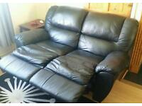 3 seater & 2 seater black leather sofa's