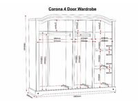 Beautiful and massive 4 door corona pine wardrobe for quick sale due to house move