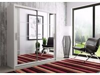 Luxury Beautiful Dexter Sliding 2 Door German Wardrobe in Black and White Colors - Fast Delivery